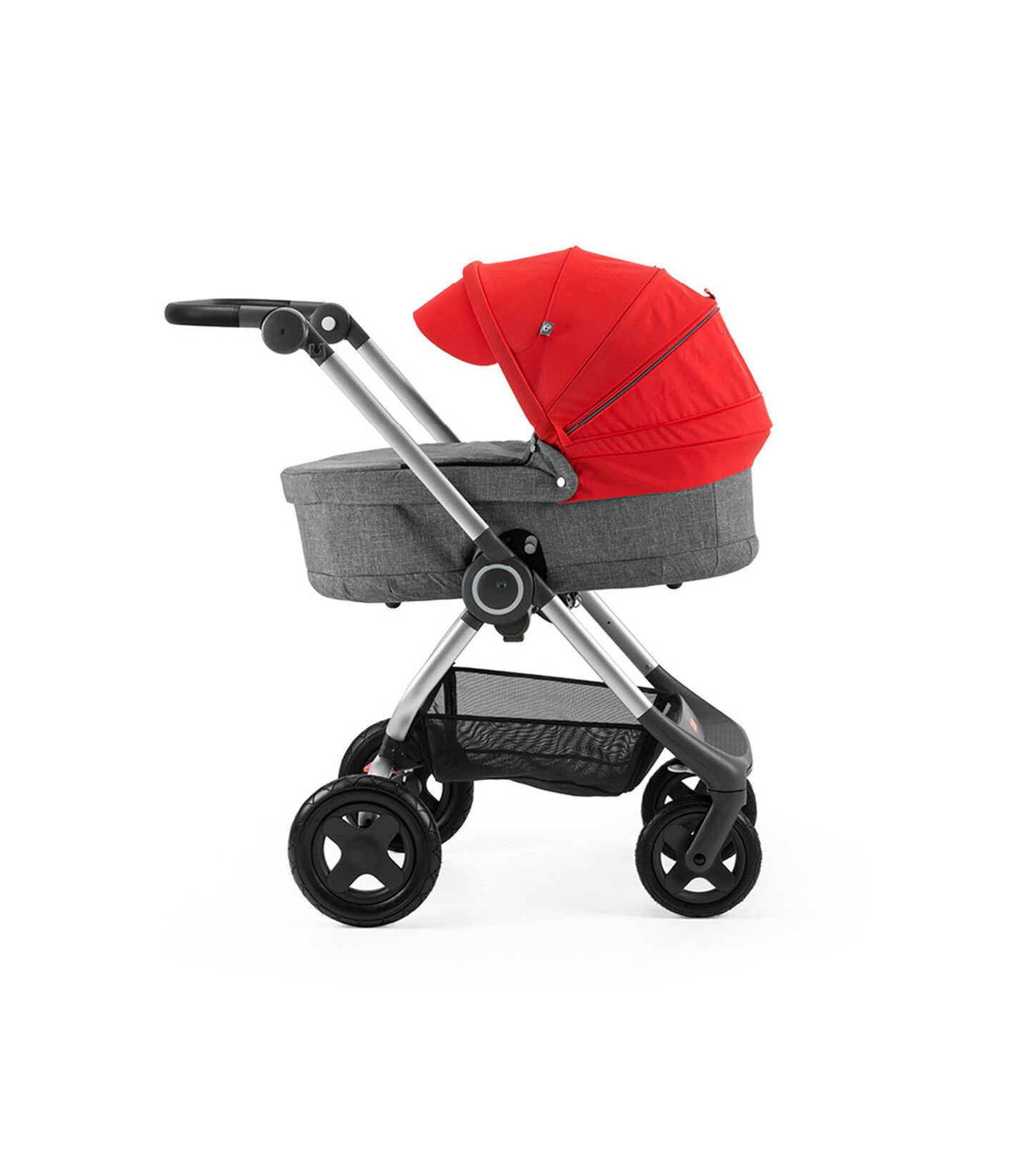Stokke® Scoot™ with Carry Cot Black Melange and Red Canopy.