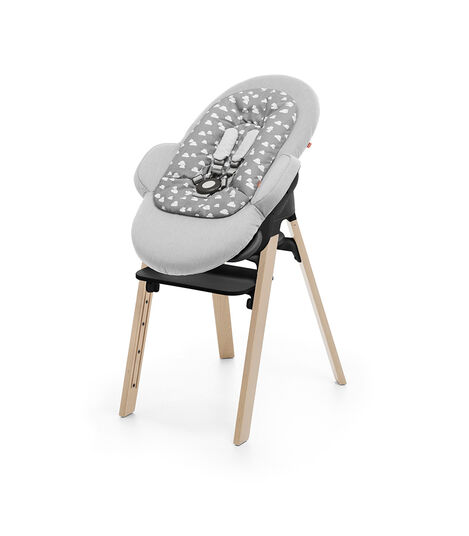 Stokke® Steps™ Chair Natural, and Stokke® Steps™ Bouncer with Newborn Insert, Grey Clouds. view 4