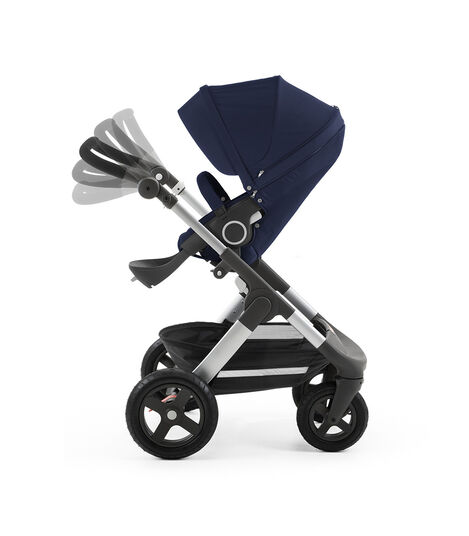 Chassis with Stokke® Stroller Seat, Deep Blue. Handle Positions.