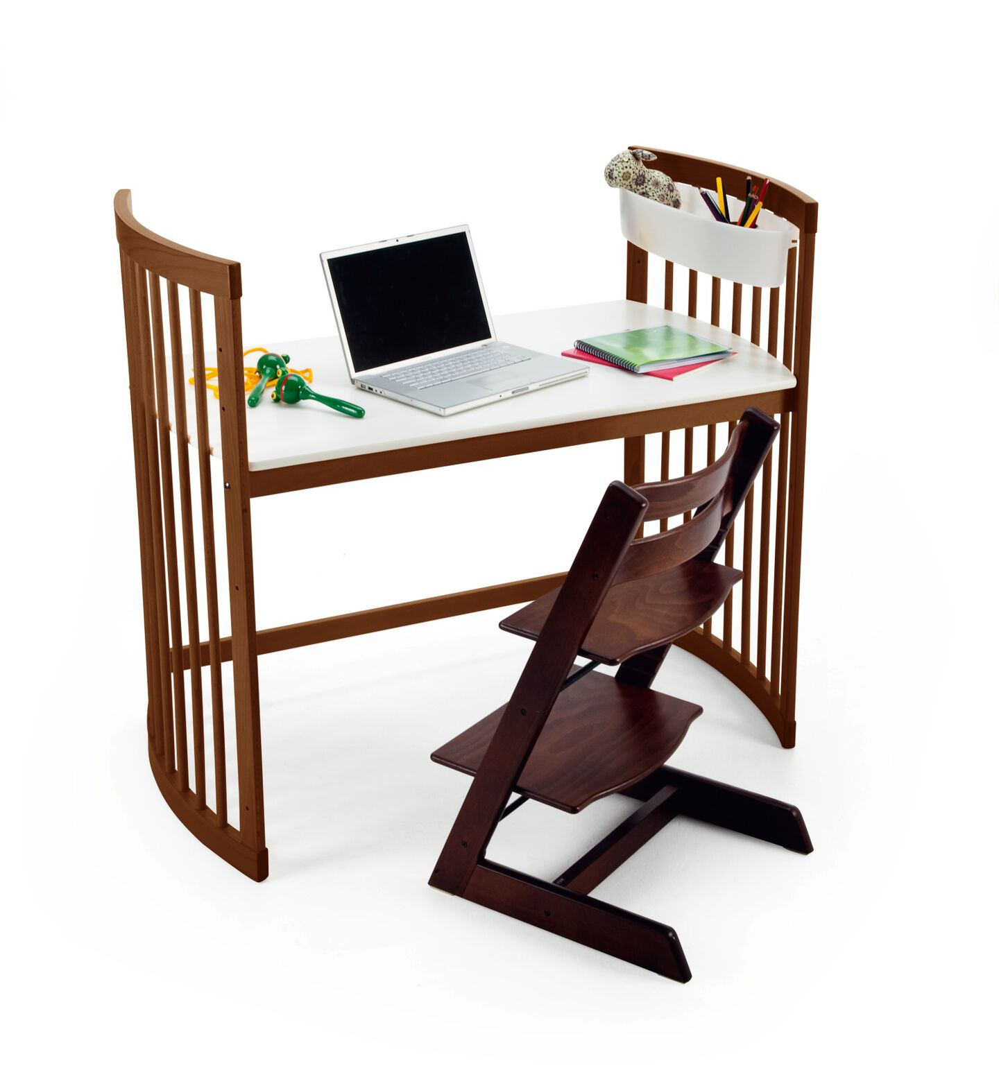 Stokke® Care large desk Walnut Brown, with Tripp Trapp® Walnut Brown.
