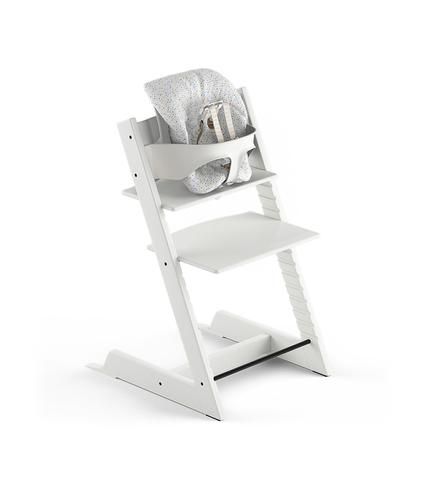 Tripp Trapp® White, Beech. With Tripp Trapp® Baby Set and Baby Cushion Soft Sprinkle. US version with Harness.