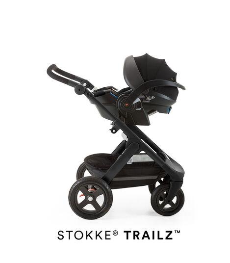 Stokke® iZi Go Modular™ X1 by Besafe®, Black. Mounted on Stokke® Trailz™.