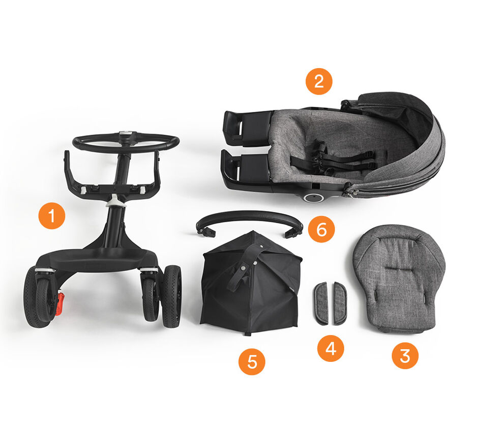 Stokke® Xplory® with Seat. What's included overview. view 1