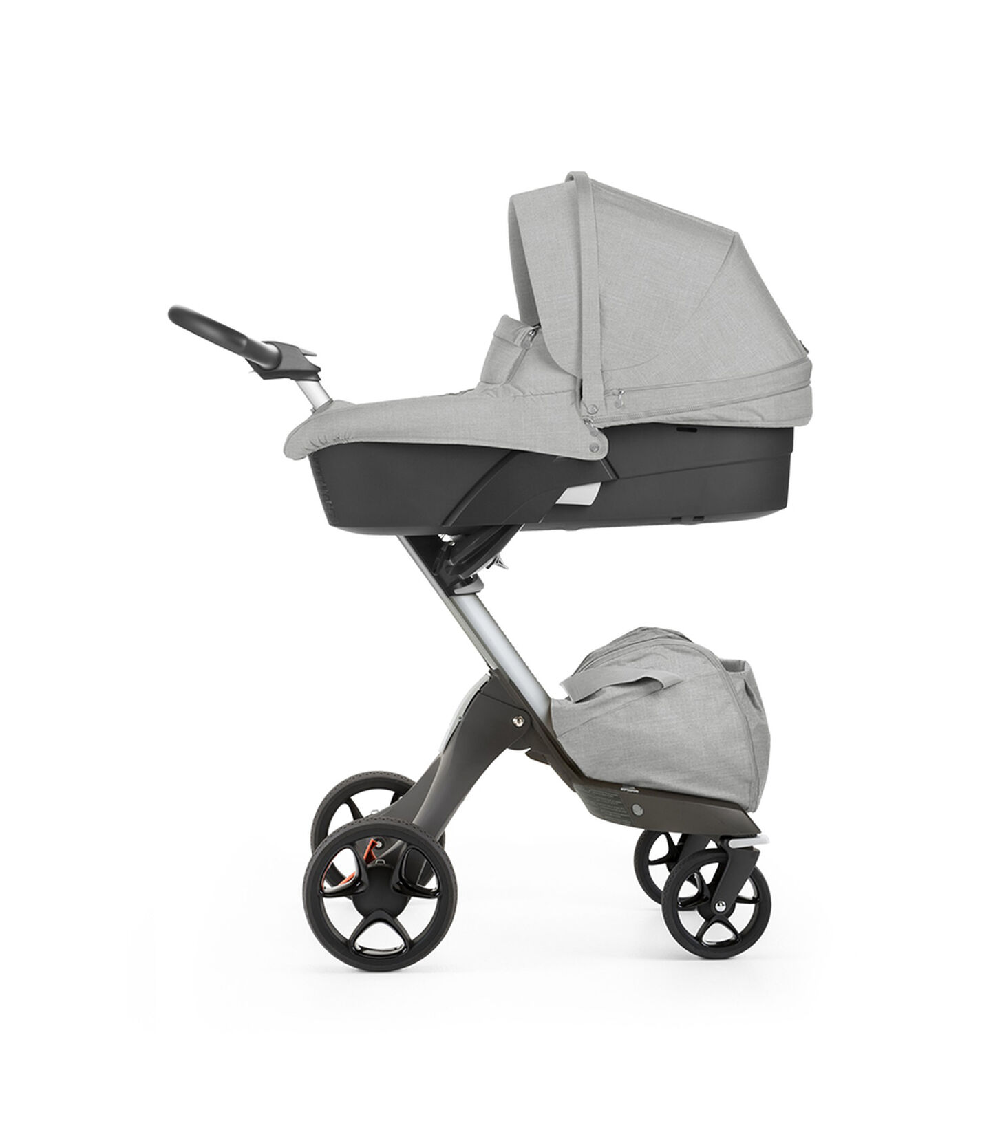 Stokke® Xplory® with Carry Cot, Grey Melange. New wheels 2016.