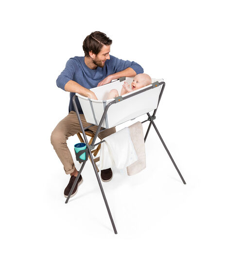 Stokke® Flexi Bath®. White, on Flexi® Bath® Stand.