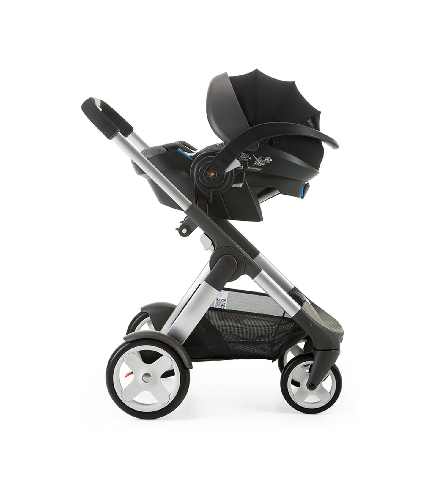 Stokke® iZi Go Modular™ by Besafe®, Black Melange. Mounted on Stokke® Crusi™.