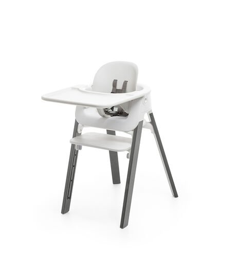 Stokke® Steps™ Chair White Seat Storm Grey Legs (stokke.com), Storm Grey, mainview view 4