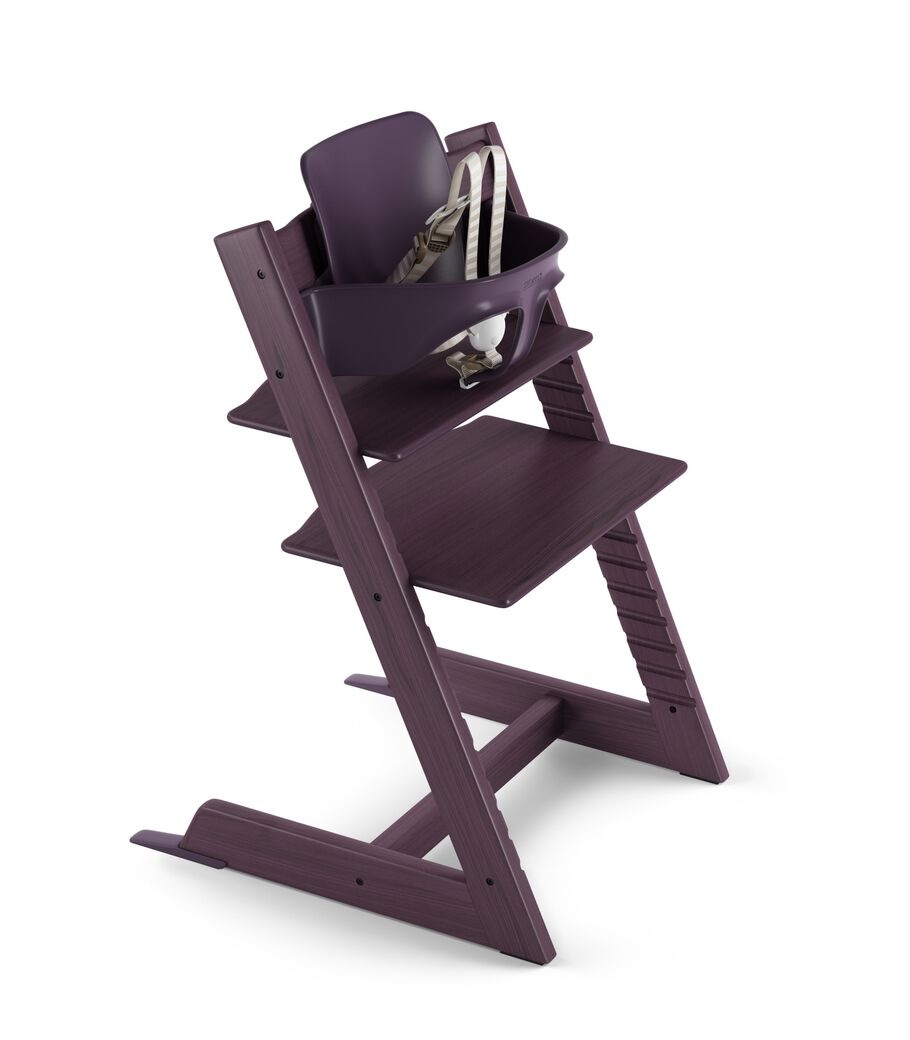 Tripp Trapp® Plum Purple with Tripp Trapp® Baby Set. US version. 3D rendering.