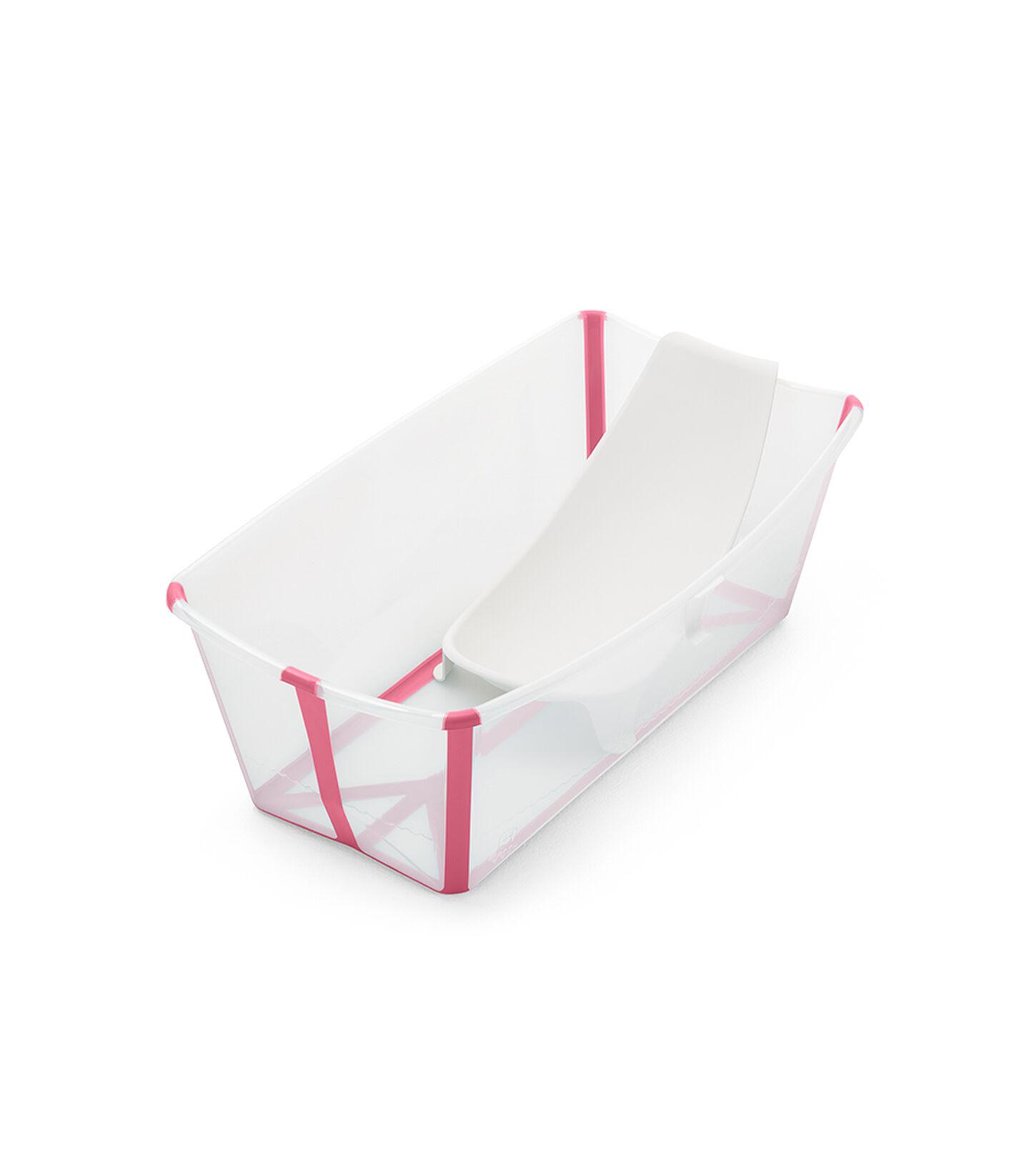 Stokke® Flexi Bath® bath tub, Transparent Pink with Newborn insert. view 1