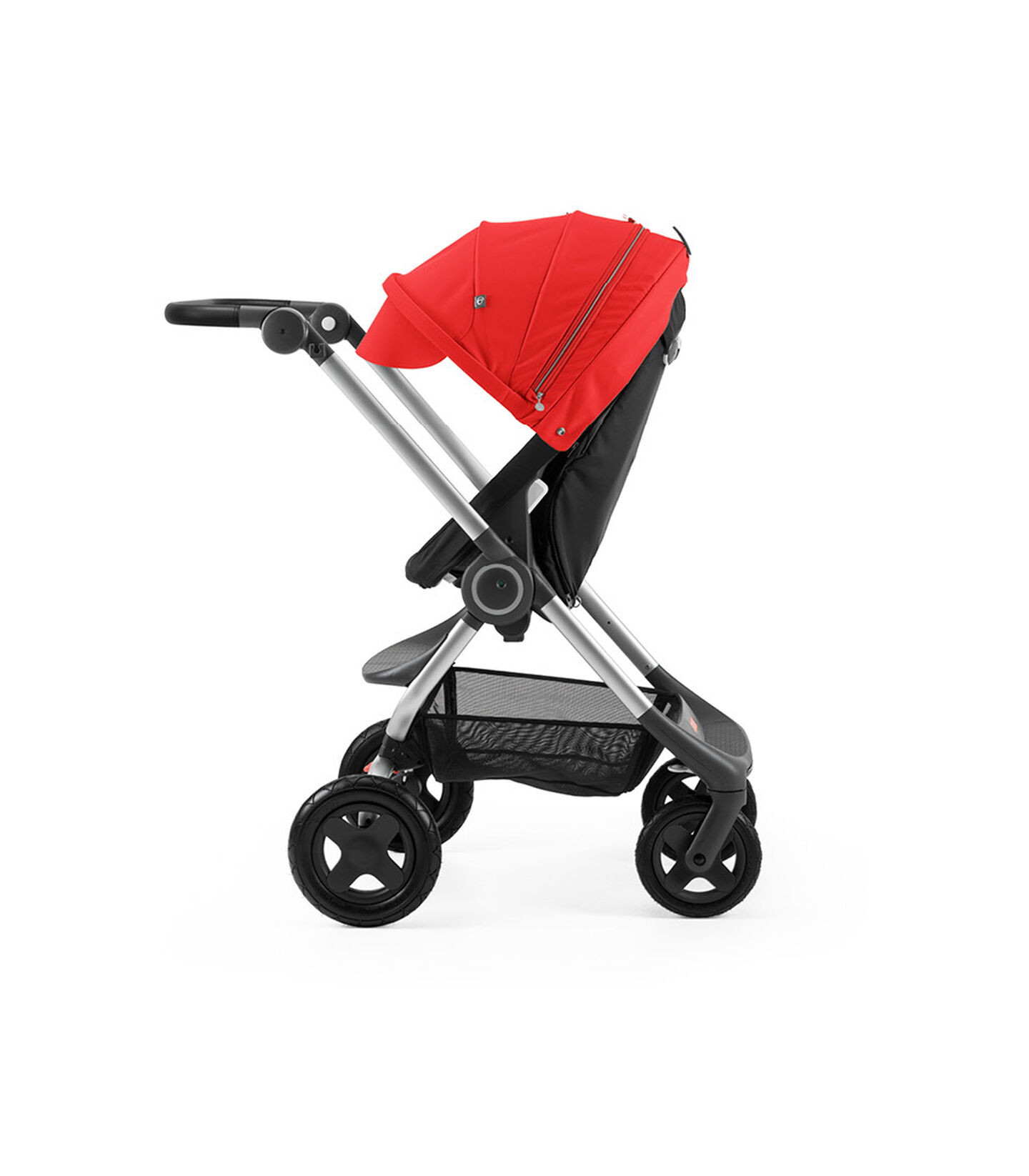 Stokke® Scoot™ Black with Red Canopy. Parent facing, active position.