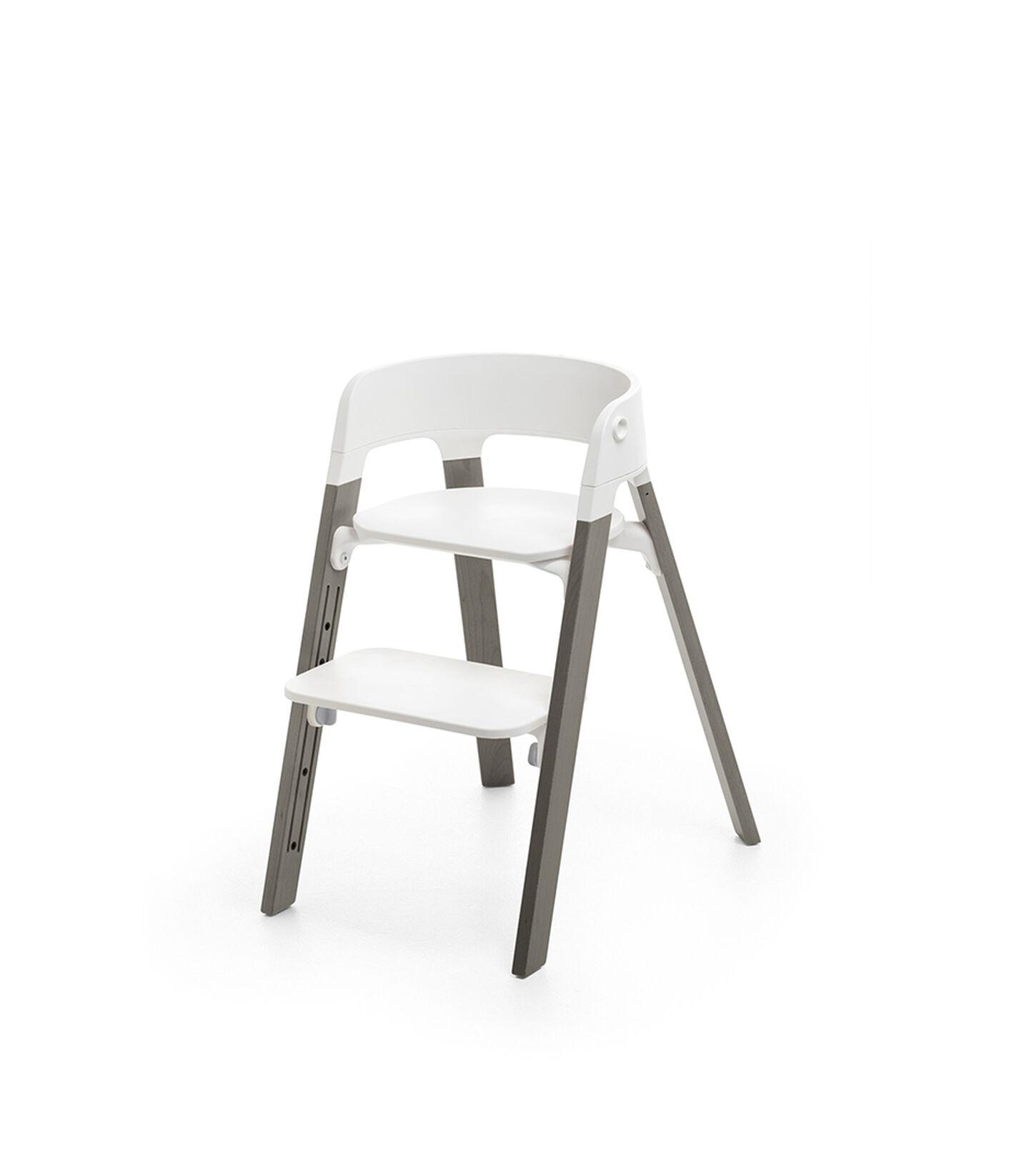 Stokke® Steps™ Chair White Seat Hazy Grey Legs, Hazy Grey, mainview view 2