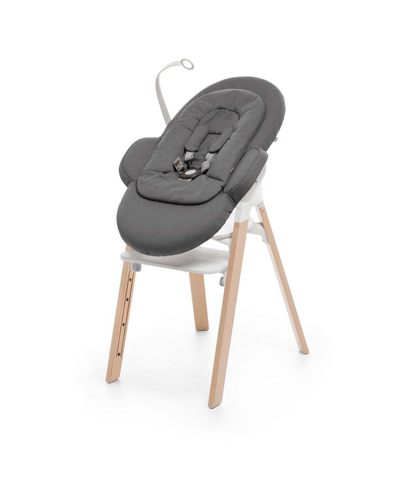 "Stokke® Steps"" Chair, Beech Natural, with Newborn Set Deep Grey. view 1"