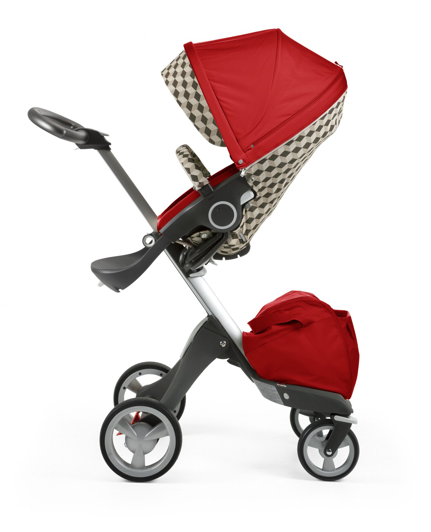 Stokke® Stroller Seat with Style Kit Beige Cube and Stokke® Xploy® chassis, Red.