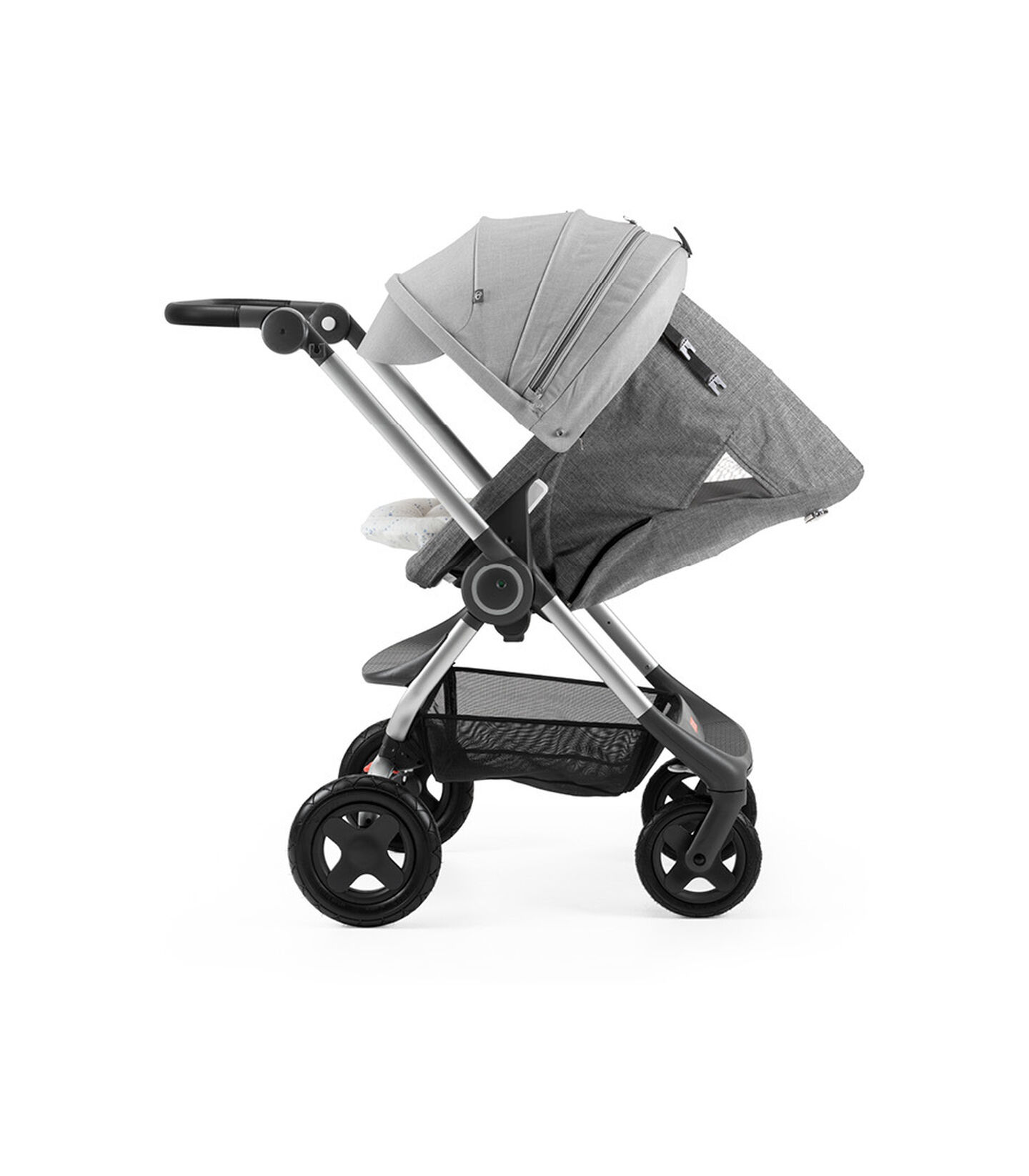 Stokke® Scoot™ with Black Melange seat and Grey Melange Canopy. Parent Facing. Sleep position.