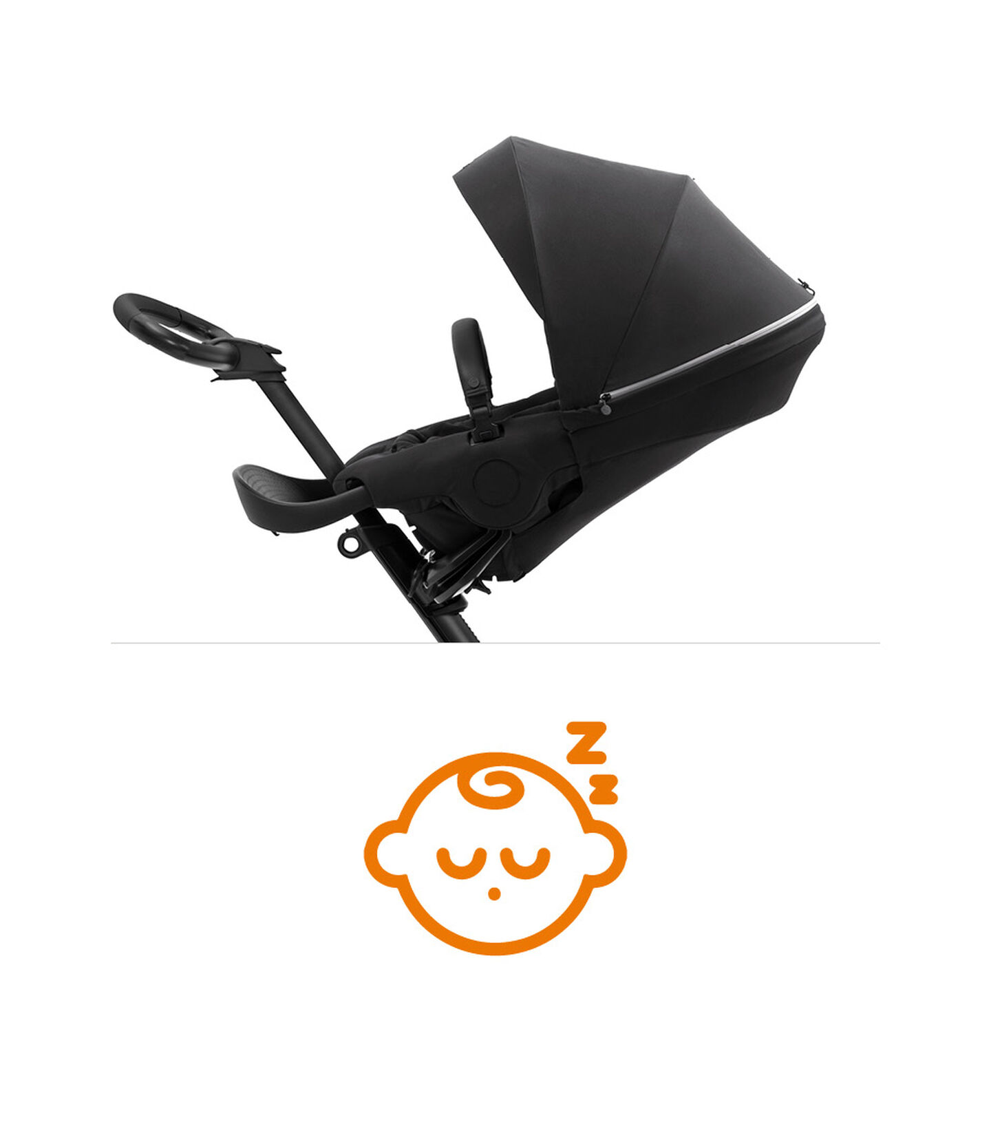 Stokke® Xplory® X Rich Black Stroller with Seat Parent Facing, sleep position.   view 7