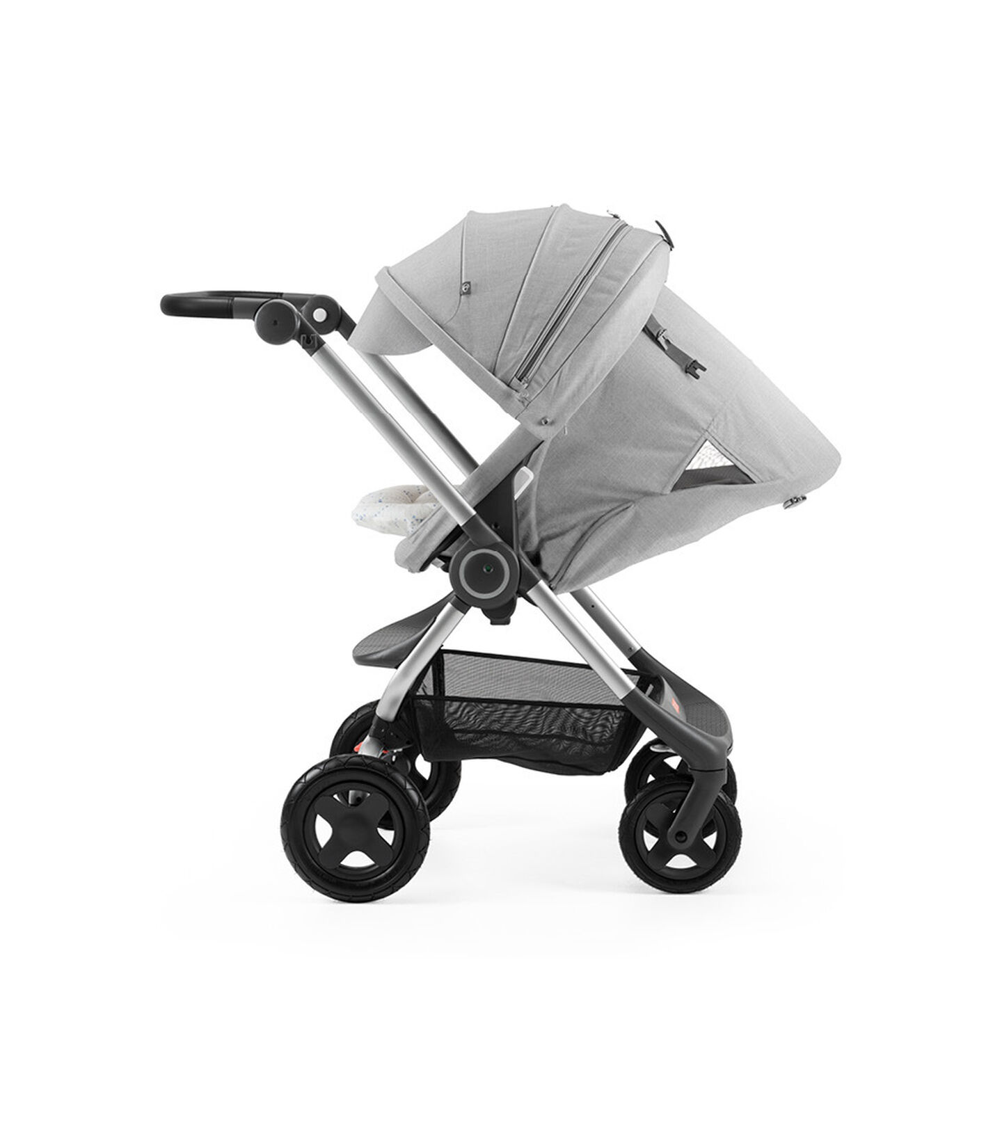 Stokke® Scoot™ with Grey Melange seat and Canopy. Parent Facing. Sleep position.