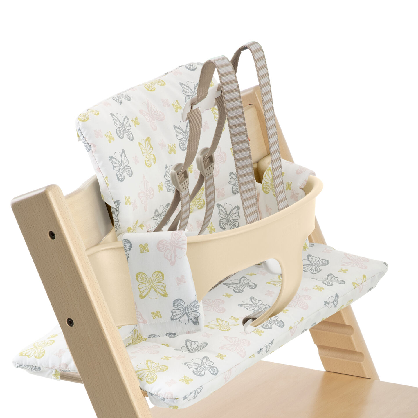 Tripp Trapp® Natural with Baby Set and Sweet Butterfly cushion. US version. Detail.