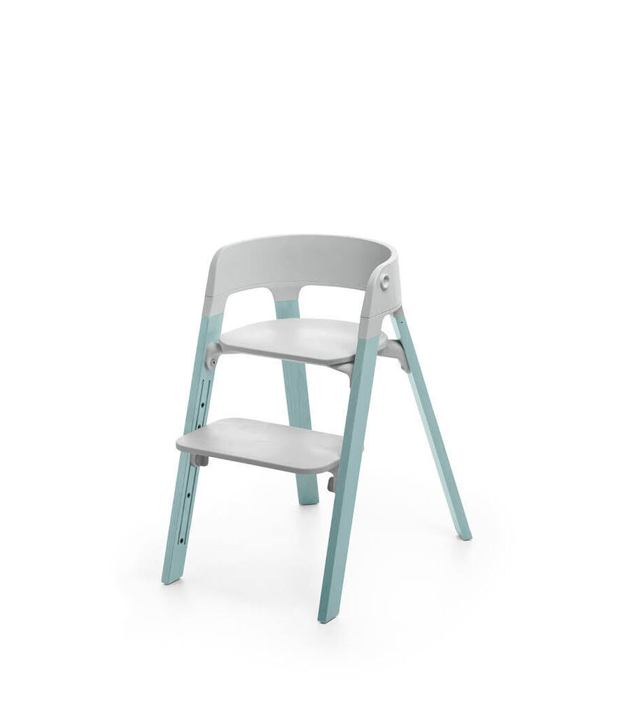 Stokke® Steps™ Aqua Blue with Light Grey seat.