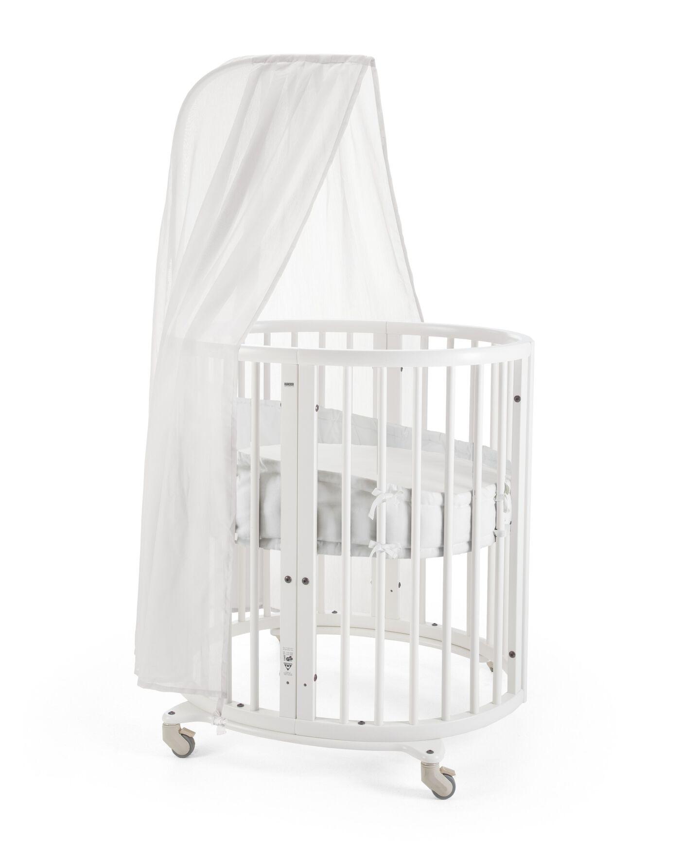 Stokke® Sleepi Mini, White. Canopy, Bumper and Fitted Sheet White.