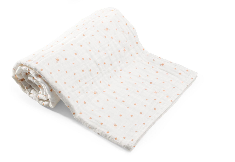 Stokke Textiles, Blanket Muslin Cotton Coral Bee.