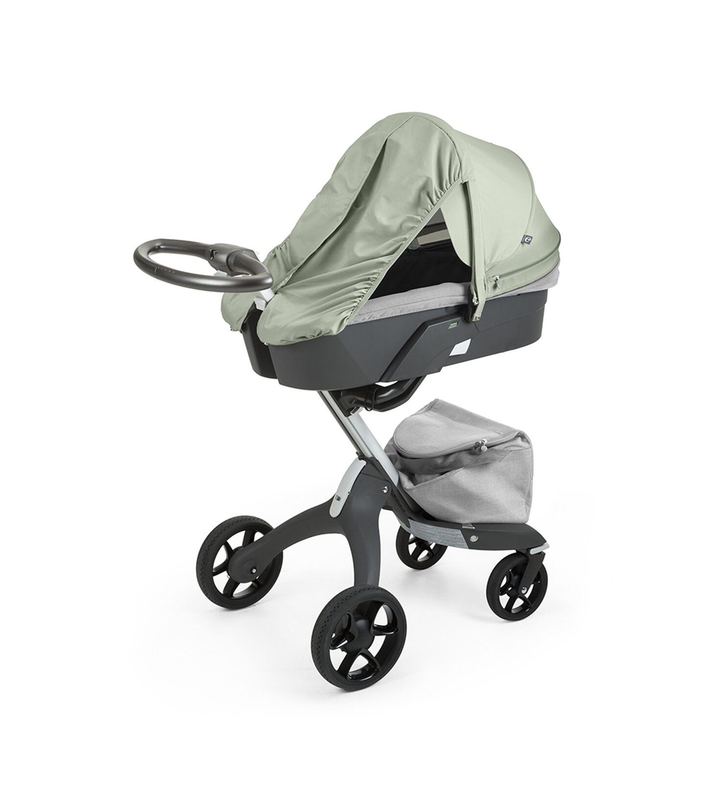 Stokke® Xplory® With Carry Cot and Flora Green Summer Kit.