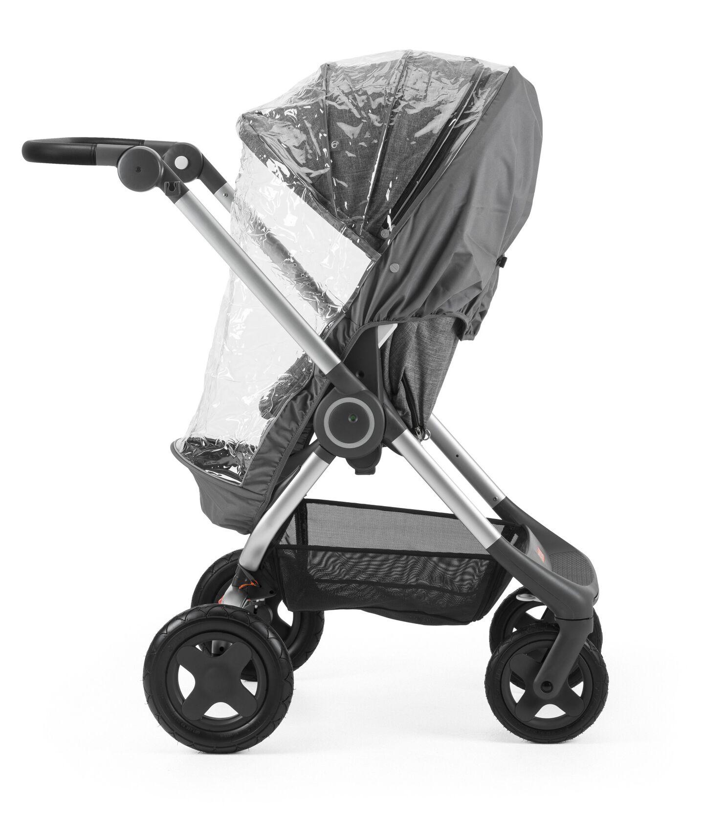 Stokke® Scoot™ Black Melange. Parent facing, active position. Rain Cover.
