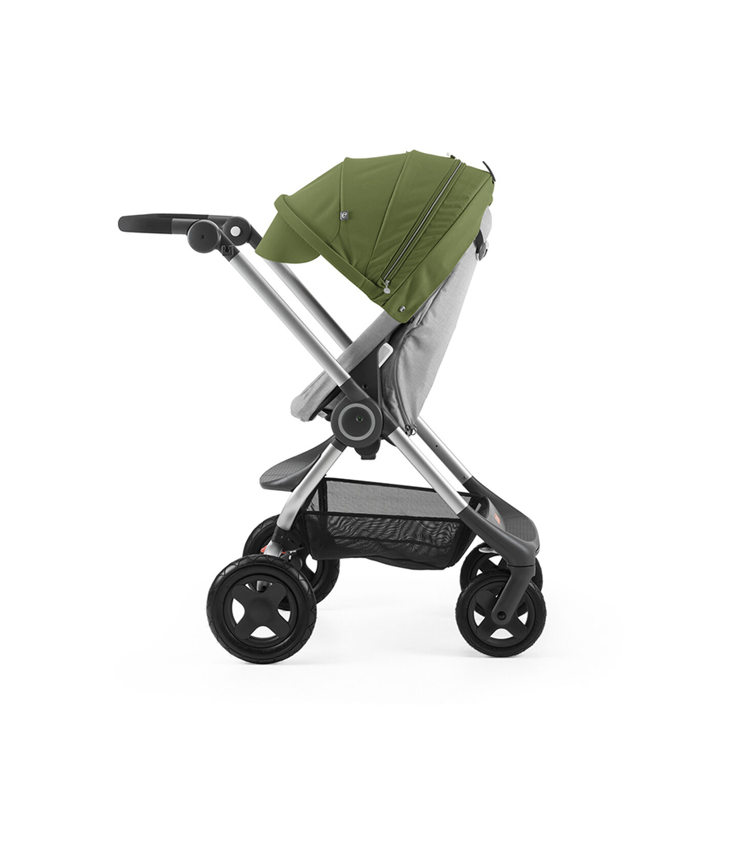 Stokke® Scoot™ Grey Melange with Green Canopy. Parent facing, active position.