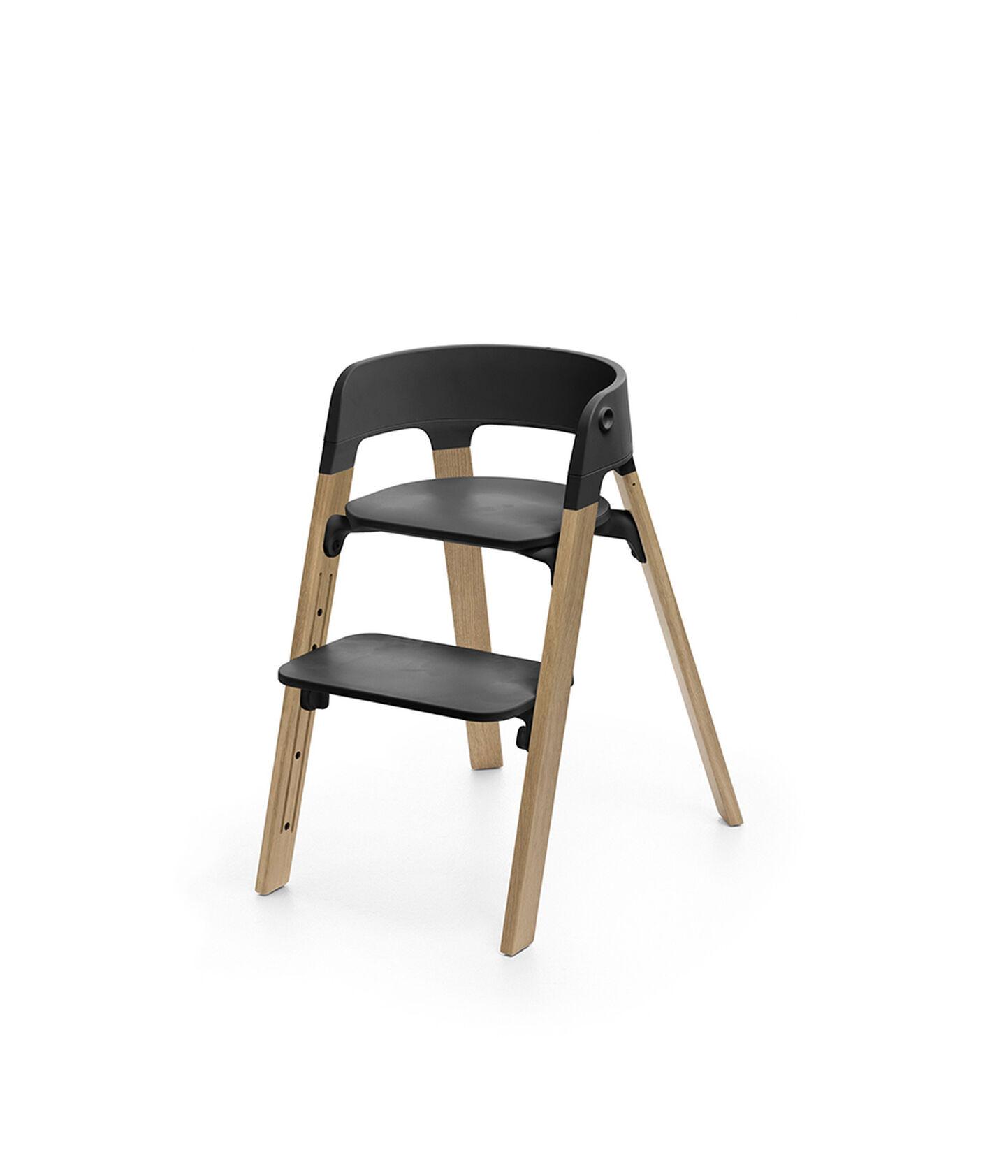 Stokke® Steps™ Chair Black Seat Oak Natural Legs, Oak Natural, mainview view 1