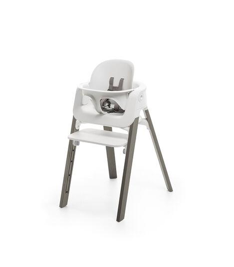 Stokke® Steps™ Chair White Seat Hazy Grey Legs, Hazy Grey, mainview view 4