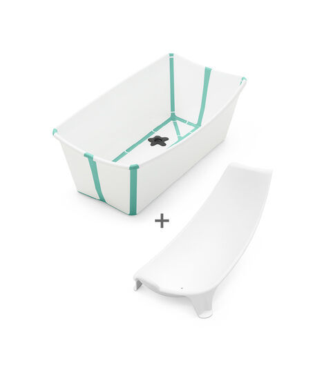 Stokke® Flexi Bath® Bundle - Bath Tub and Newborn Support, White Aqua. view 5