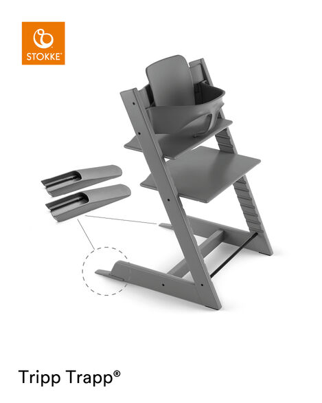 Tripp Trapp® Chair Storm Grey, Beech, with Baby Set. view 4