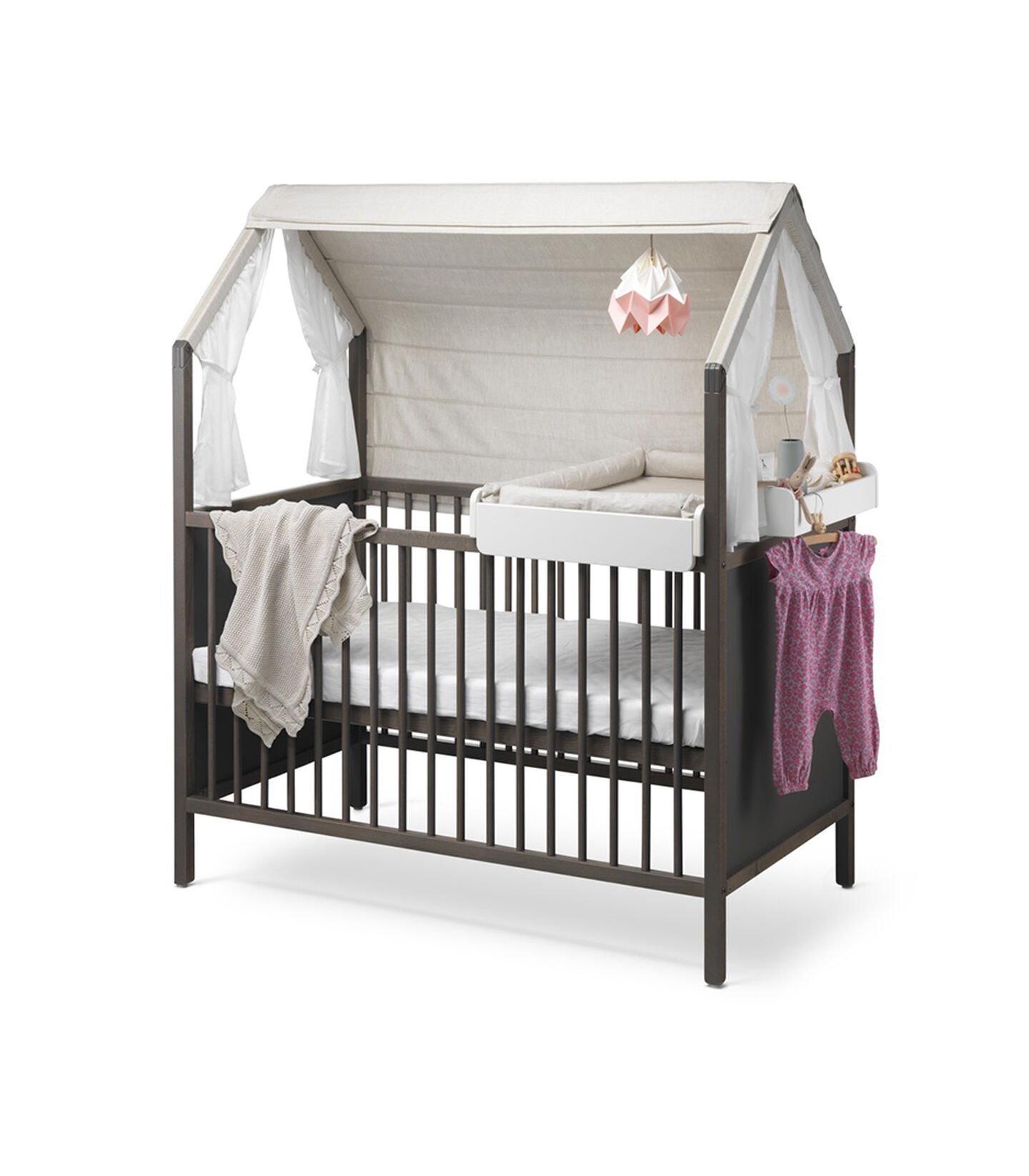 Stokke® Home™ Bed, Hazy Grey. With Changer. Stokke® Home™ Bed Roof textile, Natural.