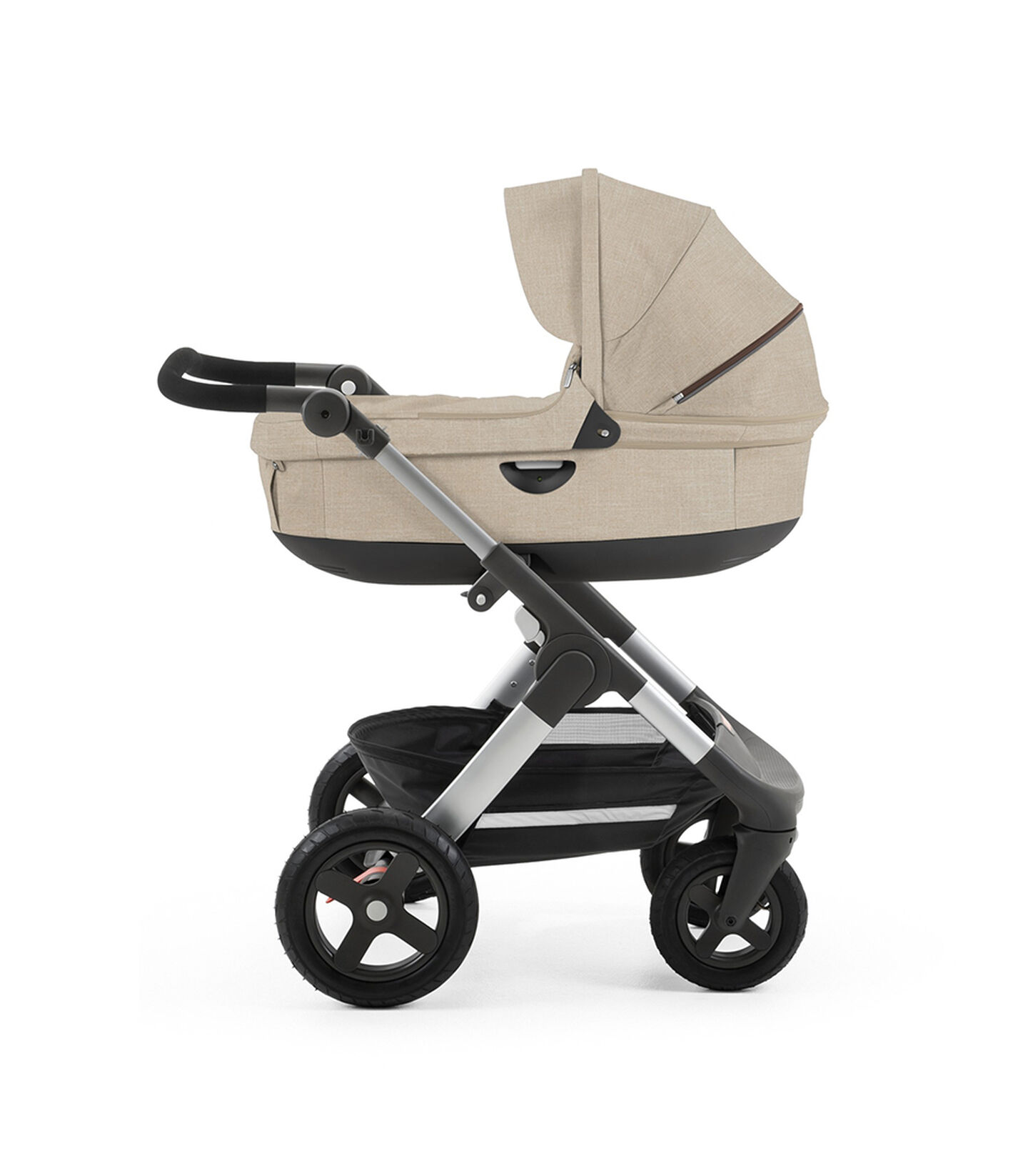 Chassis with Stokke® Stroller Carry Cot. Beige Melange.