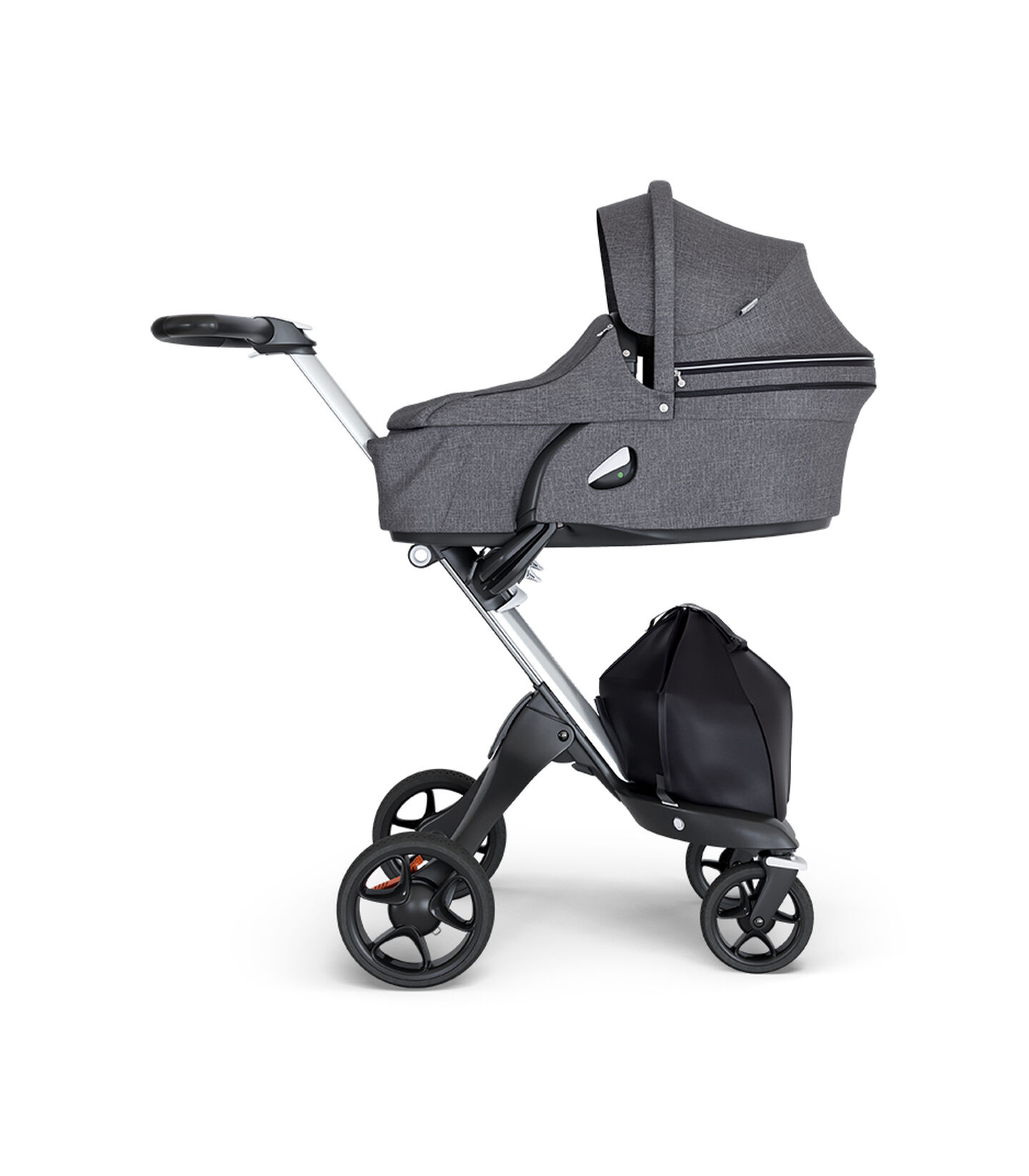 Stokke® Xplory® 6 Silver Chassis - Black Handle Black Melange, Negro Melange, mainview view 2