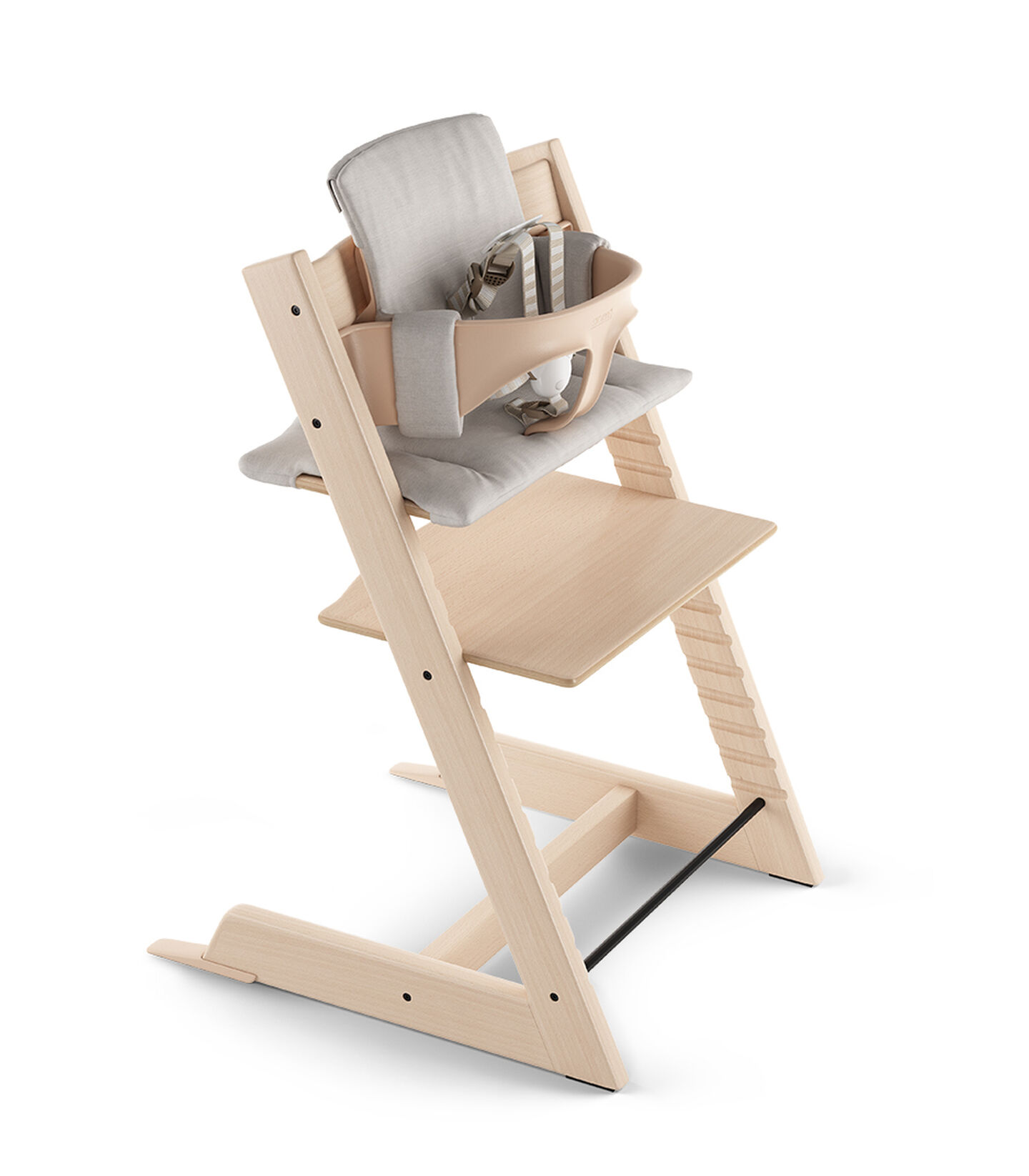 Tripp Trapp® Natural Beech. With Baby Set and Grey Melange Cushion. 5-point Harness attached. US version.