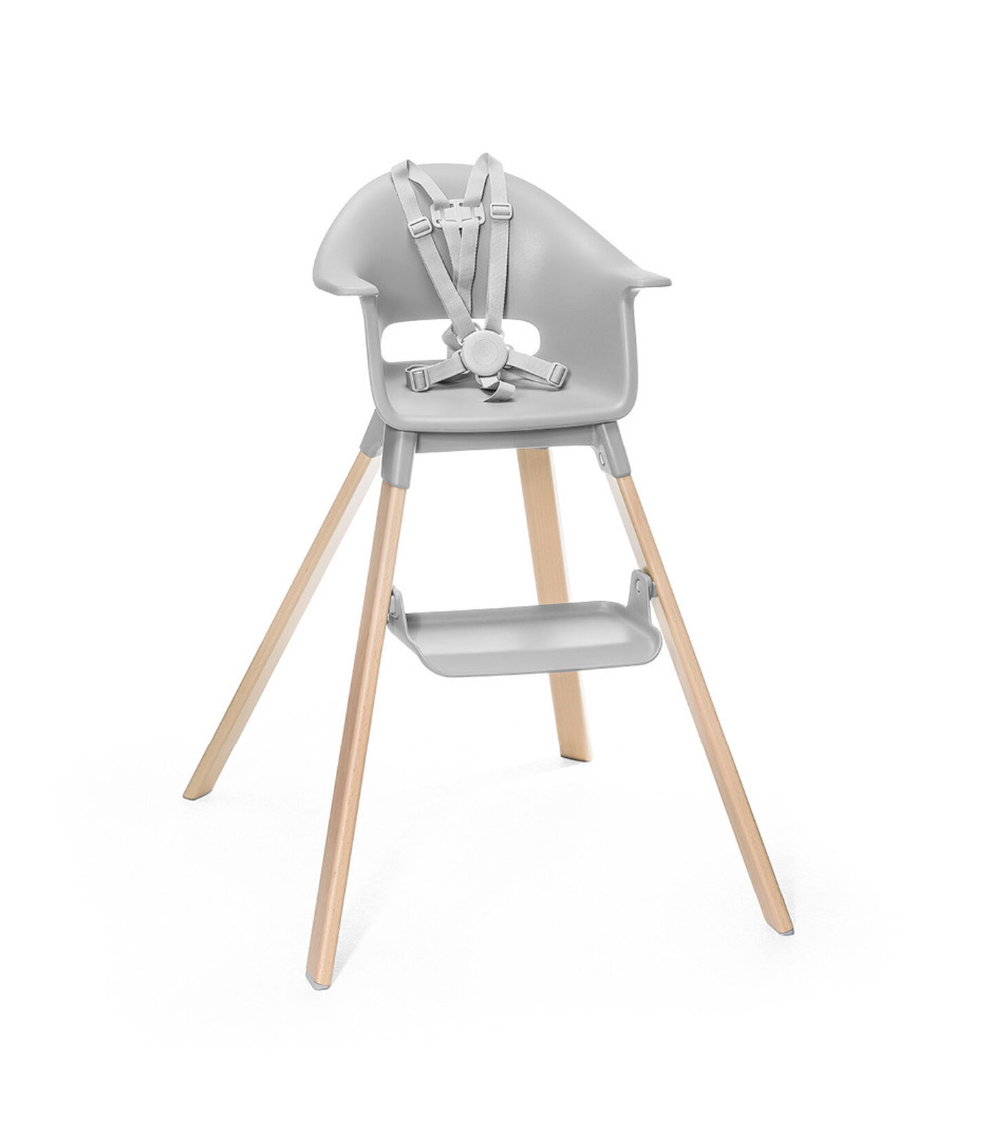 Stokke® Clikk™ High Chair. Natural Beech wood and Light Grey plastic parts. Stokke® Harness attached. Footrest high.