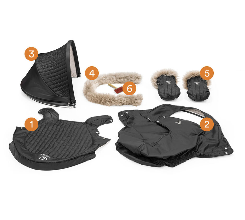Stokke® Stroller Winter Kit Onyx Black, , WhatsIncl view 1