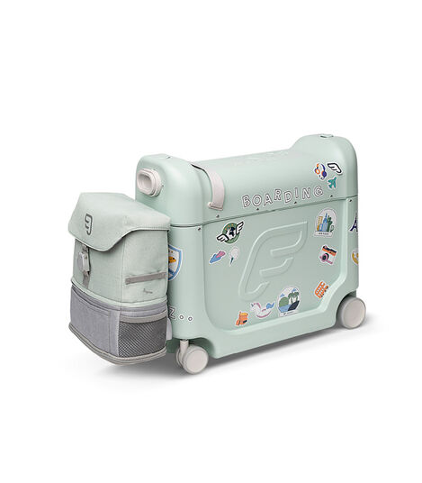 JetKids™ by Stokke® BedBox V3 and Crew BackPack in Green Aurora. Decorated with Stickers. view 9