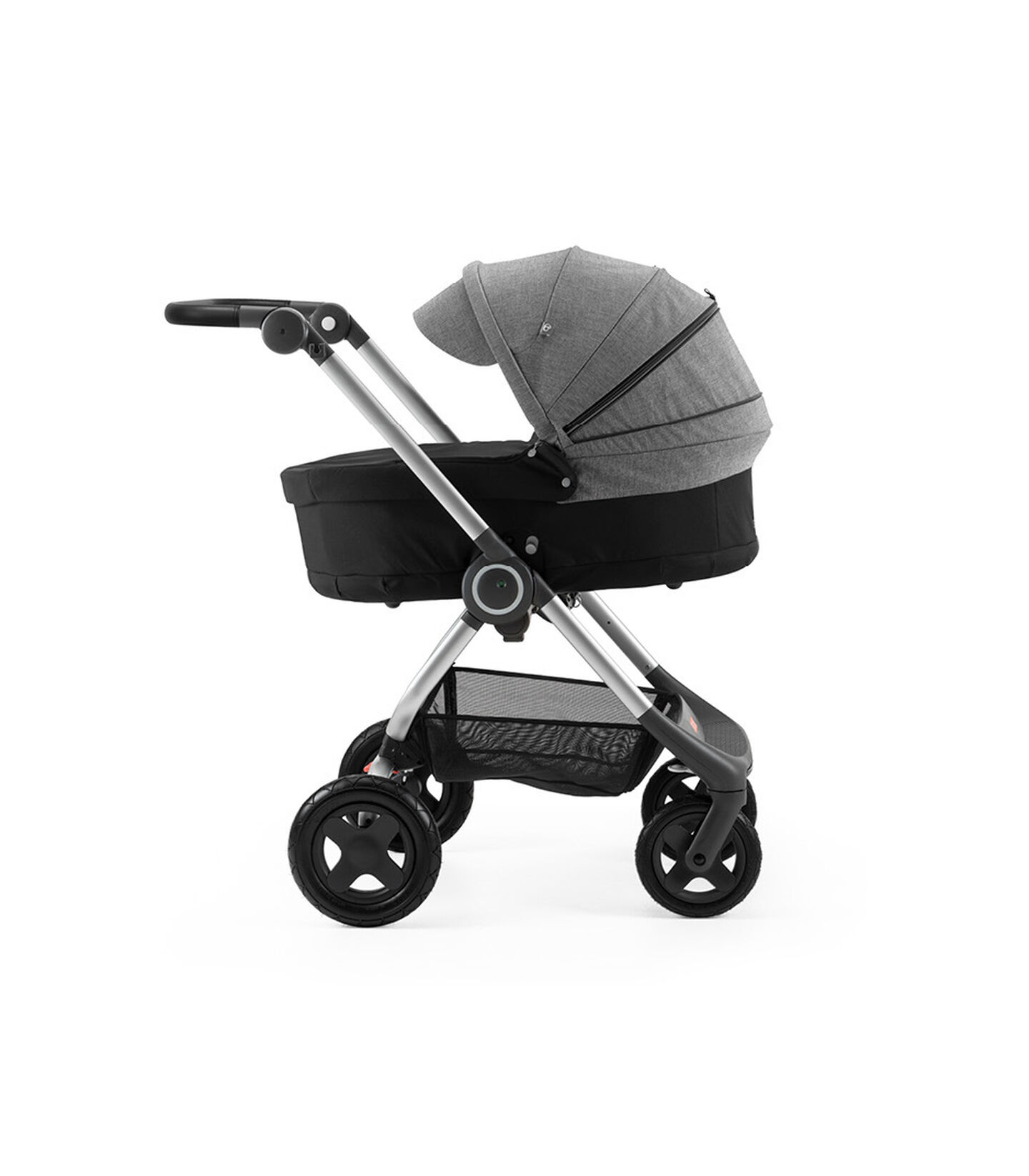 Stokke® Scoot™ with Carry Cot Black and Black Melange Canopy.