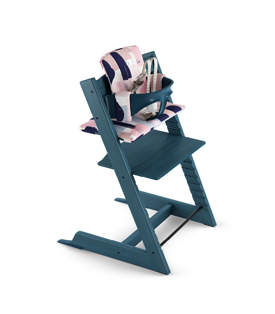 Tripp Trapp® Midnight Blue with Baby Set and Classic Cushion Paintbrush.