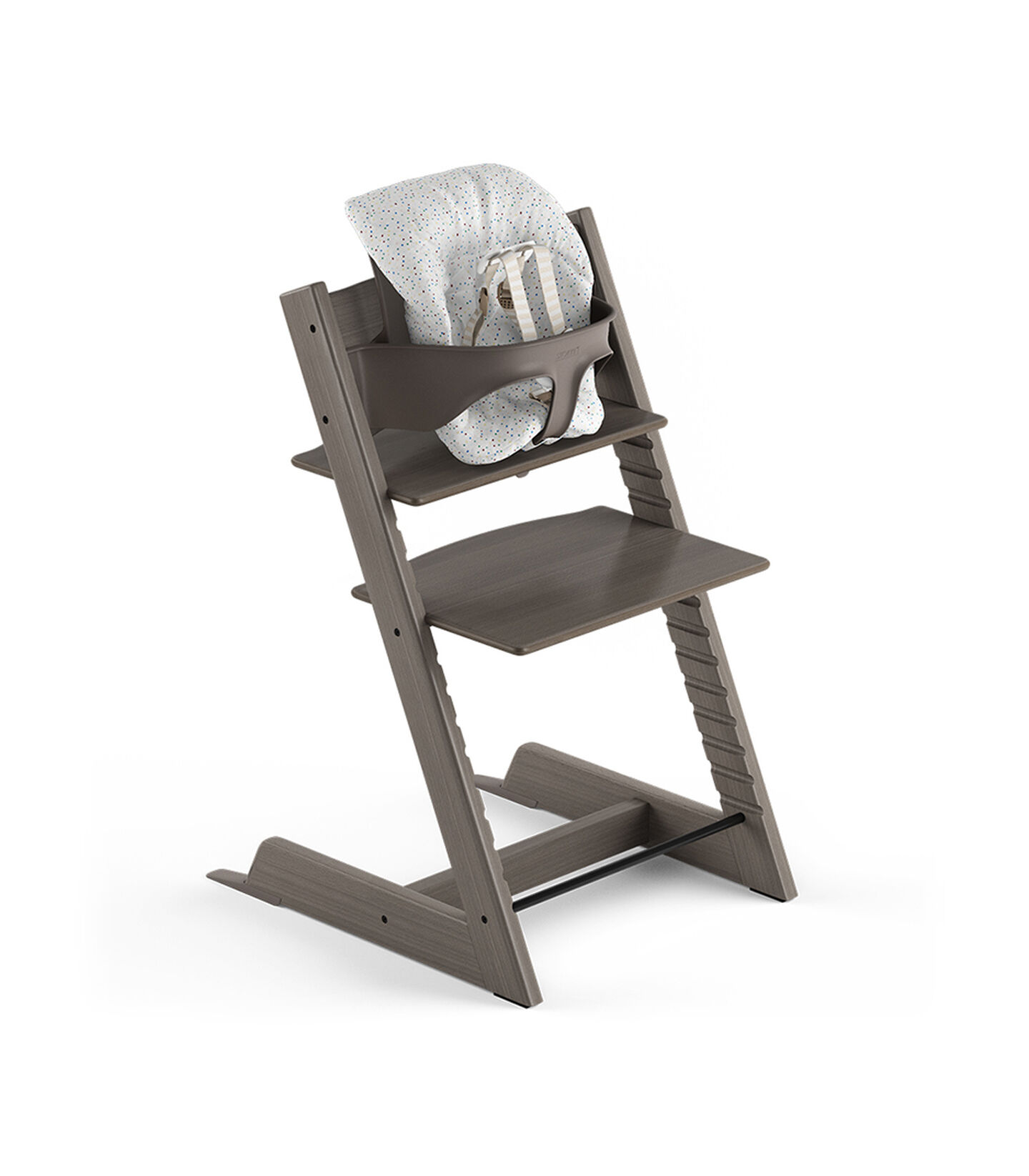Tripp Trapp® Hazy Grey, Beech. With Tripp Trapp® Baby Set and Baby Cushion Soft Sprinkle. US version with Harness.