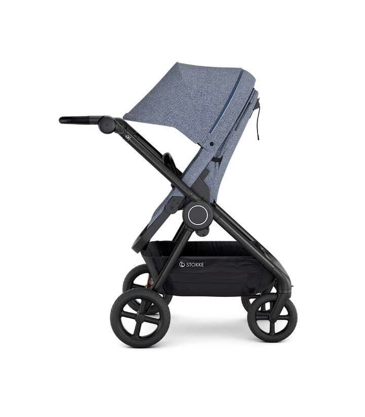Stokke® Beat™ with Seat. Blue Melange. Parent facing.