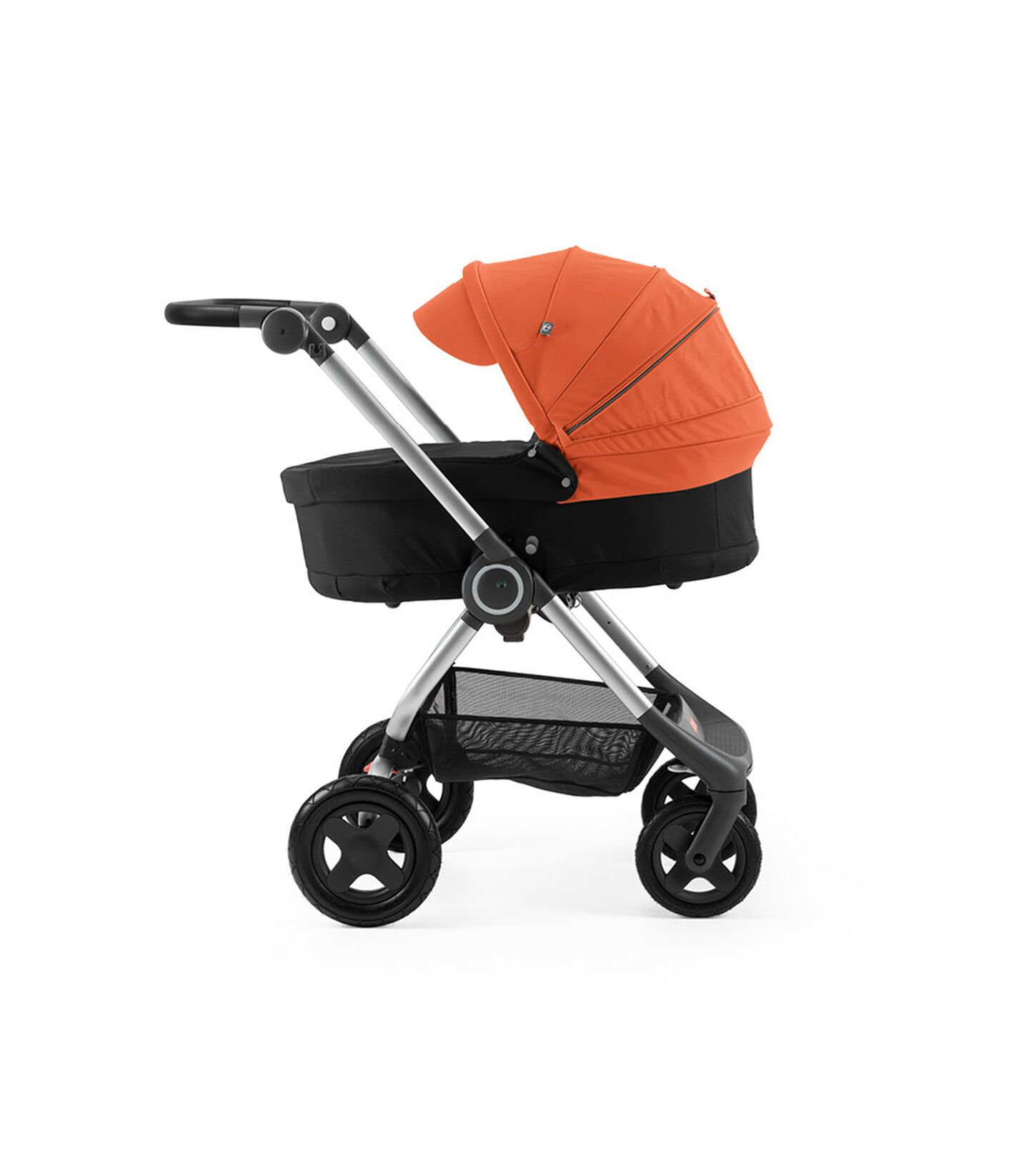 Stokke® Scoot™ with Carry Cot Black and Orange Canopy.