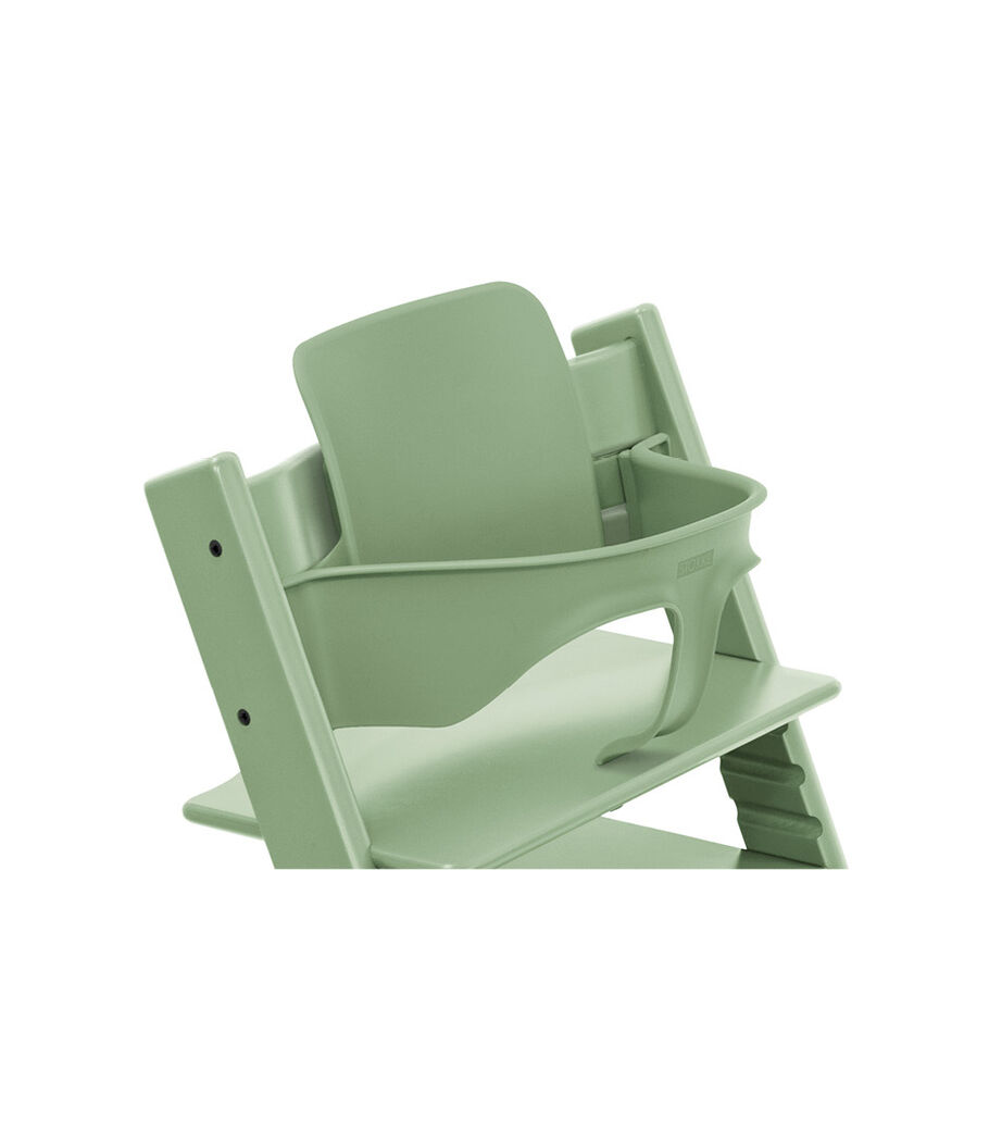 Tripp Trapp® Chair Moss Green, Beech, with Baby Set. 3D rendering.