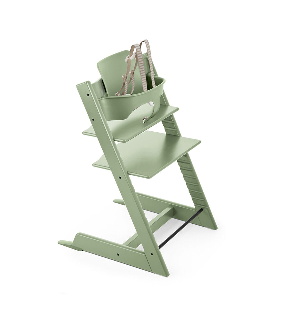 Tripp Trapp® Natural with Tripp Trapp® Baby Set, Moss Green. USA version.