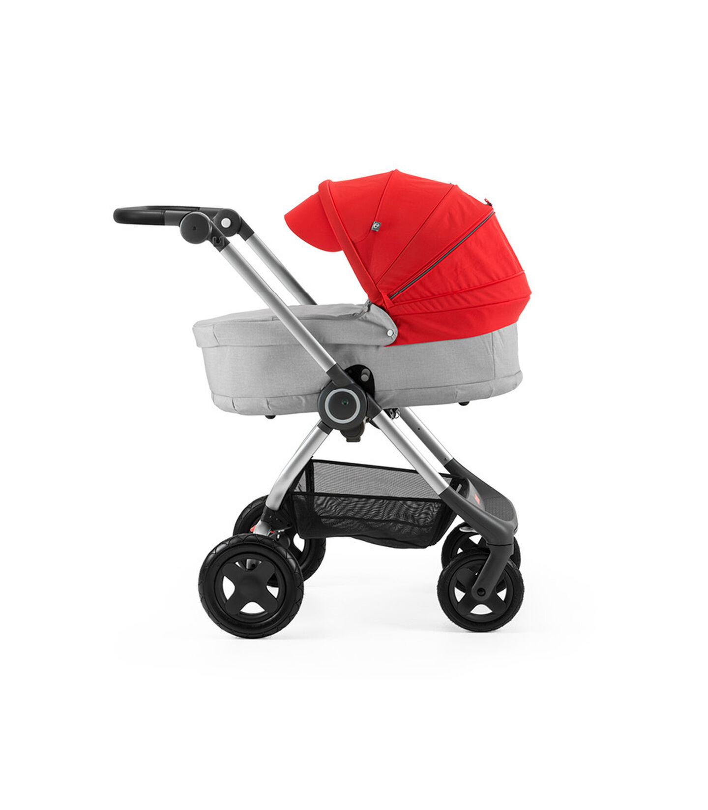 Stokke® Scoot™ with Carry Cot, Grey Melange and Red Canopy.