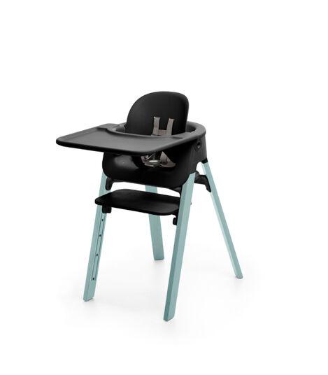 Stokke® Steps™ Chair Black Seat Aqua Blue Legs, Aqua Blue, mainview view 3