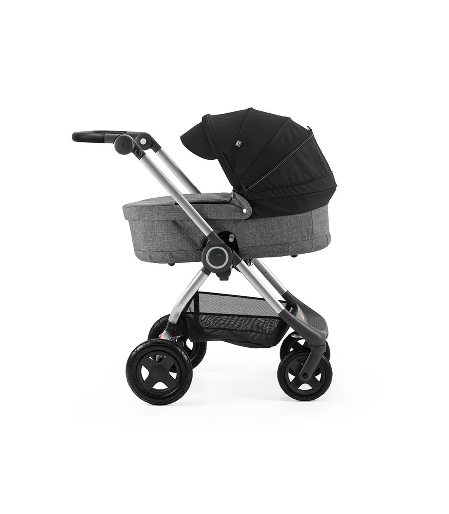 Stokke® Scoot™ with Carry Cot Black Melange and Black Canopy.