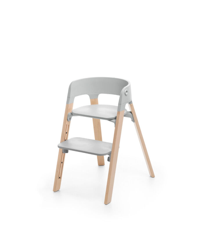 Stokke® Steps™ Chair Natural Legs with Grey, Grey Seat - Natural Legs, mainview view 1
