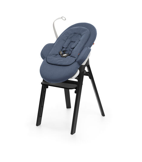 Stokke® Steps™ Oak Black with Black Seat and footrest. Bouncer with Newborn Insert, Blue.